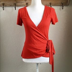 Sezane Red Dee Wrap Top Blouse Short Sleeve